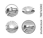 farm logo. nature. black and... | Shutterstock .eps vector #788763082