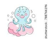 adorable blue octopus against... | Shutterstock .eps vector #788766196