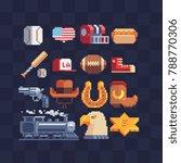american theme. pixel art....   Shutterstock .eps vector #788770306