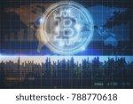 glowing bitcoin background.... | Shutterstock . vector #788770618