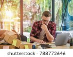 man is thinking and sitting at... | Shutterstock . vector #788772646