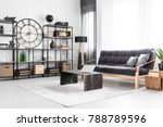 laptop on table and wooden sofa ... | Shutterstock . vector #788789596