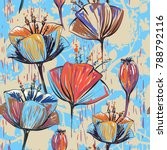 hand drawn decorative tulips ... | Shutterstock . vector #788792116
