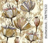 hand drawn decorative tulips ... | Shutterstock . vector #788792122