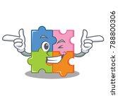 wink puzzle character cartoon... | Shutterstock .eps vector #788800306