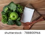 blank note pad and the healthy... | Shutterstock . vector #788800966