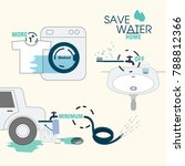 simple ways to save water at... | Shutterstock .eps vector #788812366
