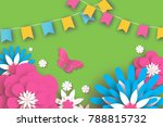 colorful happy floral greeting... | Shutterstock .eps vector #788815732