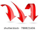 red down arrows. vector 3d... | Shutterstock .eps vector #788821606