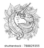 unicorn and wreath flower.... | Shutterstock .eps vector #788829355