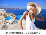 young woman enjoying the view... | Shutterstock . vector #78883042