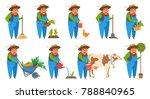 old farmer cartoon style vector ... | Shutterstock .eps vector #788840965