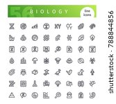 set of 56 biology line icons... | Shutterstock .eps vector #788844856