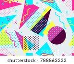 memphis seamless pattern.... | Shutterstock .eps vector #788863222