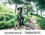 lovely couple climbing up by... | Shutterstock . vector #788865835