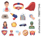 a fantastic superhero cartoon... | Shutterstock .eps vector #788877346