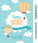 happy birthday cartoon card... | Shutterstock .eps vector #788888302