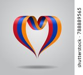armenian flag heart shaped wavy ... | Shutterstock . vector #788889565