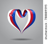 slovak flag heart shaped wavy... | Shutterstock . vector #788889595