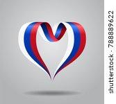 russian flag heart shaped wavy... | Shutterstock . vector #788889622