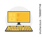 java code on computer screen.... | Shutterstock .eps vector #788889748