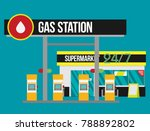 gas station flat vector... | Shutterstock .eps vector #788892802