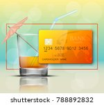 credit card   glass cold drink... | Shutterstock .eps vector #788892832