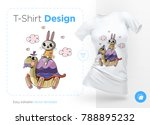 rabbit on turtle. prints on t... | Shutterstock .eps vector #788895232