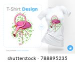 flamingo. prints on t shirts ... | Shutterstock .eps vector #788895235