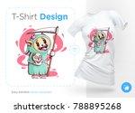 dog with scythe and skull in... | Shutterstock .eps vector #788895268