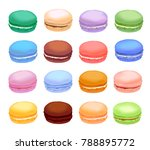 different types of macaroons.... | Shutterstock .eps vector #788895772