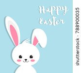happy easter rabbit  white cute ... | Shutterstock .eps vector #788900035