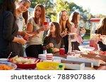 girls stand talking at a block... | Shutterstock . vector #788907886