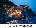 nighttime view of manarola ... | Shutterstock . vector #788908042