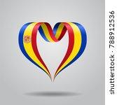 andorran flag heart shaped wavy ...   Shutterstock . vector #788912536
