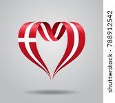 danish flag heart shaped wavy...   Shutterstock . vector #788912542