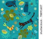 cats  birdie  flowers and...   Shutterstock .eps vector #78891607