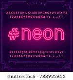 bright neon alphabet letters ... | Shutterstock .eps vector #788922652