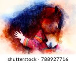 Stock photo loving horse and a girl girl hugging a horse portrait woman and horse and softly blurred 788927716