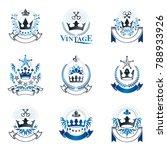 royal crowns emblems set.... | Shutterstock .eps vector #788933926