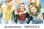 group of friends having fun in... | Shutterstock . vector #788935312