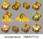 golden trophies in glowing...