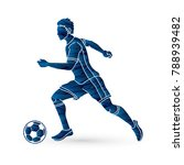 soccer player running with... | Shutterstock .eps vector #788939482