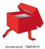 red opened gift box vector...