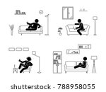 stick figure resting at home... | Shutterstock . vector #788958055