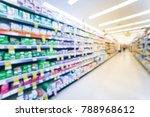 blurred inside drug store in...   Shutterstock . vector #788968612