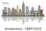 taipei taiwan city skyline with ... | Shutterstock .eps vector #788972425
