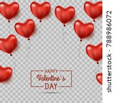 Valentine`s hearts balloons isolated. Valentine`s day background with red hearts balloons. Vector illustration.