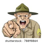 Illustration of cartoon angry looking army drill sergeant shouting at the viewer - stock vector