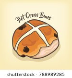 hot cross buns vector with... | Shutterstock .eps vector #788989285